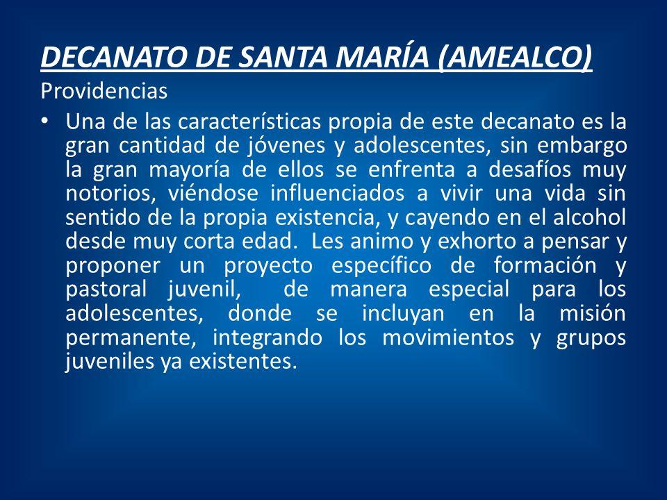 DECANATO DE SANTA MARÍA (AMEALCO) Providencias Una de las características propia de este decanato es la gran cantidad de jóvenes y adolescentes, sin e