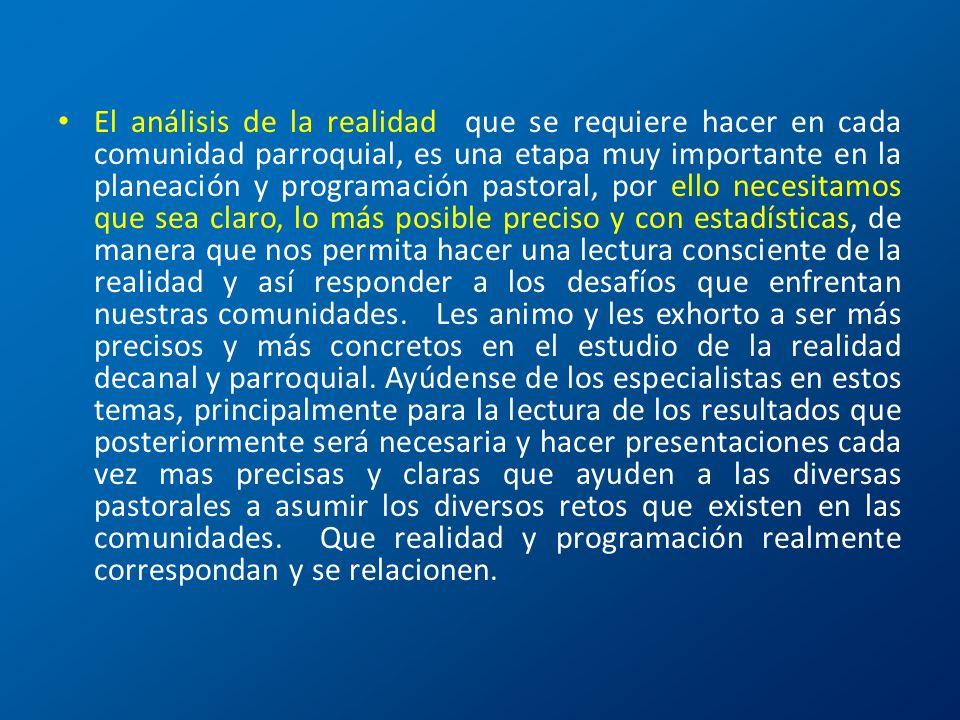 El análisis de la realidad que se requiere hacer en cada comunidad parroquial, es una etapa muy importante en la planeación y programación pastoral, p