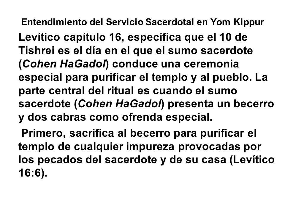 Entendimiento del Servicio Sacerdotal en Yom Kippur Levítico capítulo 16, específica que el 10 de Tishrei es el día en el que el sumo sacerdote (Cohen