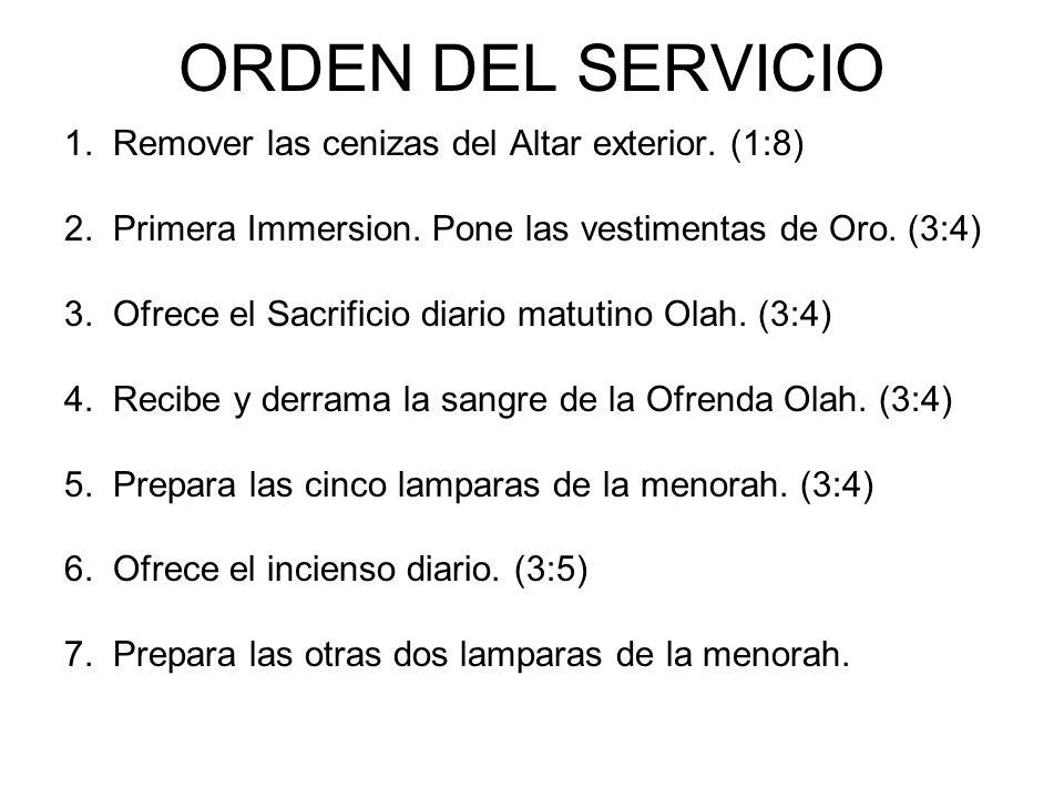 ORDEN DEL SERVICIO 1. Remover las cenizas del Altar exterior. (1:8) 2. Primera Immersion. Pone las vestimentas de Oro. (3:4) 3. Ofrece el Sacrificio d