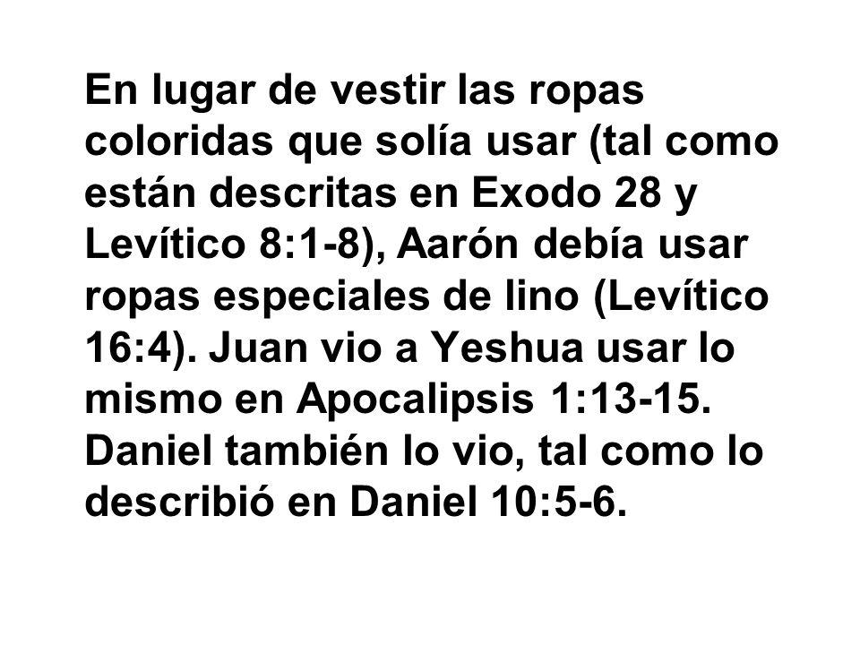En lugar de vestir las ropas coloridas que solía usar (tal como están descritas en Exodo 28 y Levítico 8:1-8), Aarón debía usar ropas especiales de li