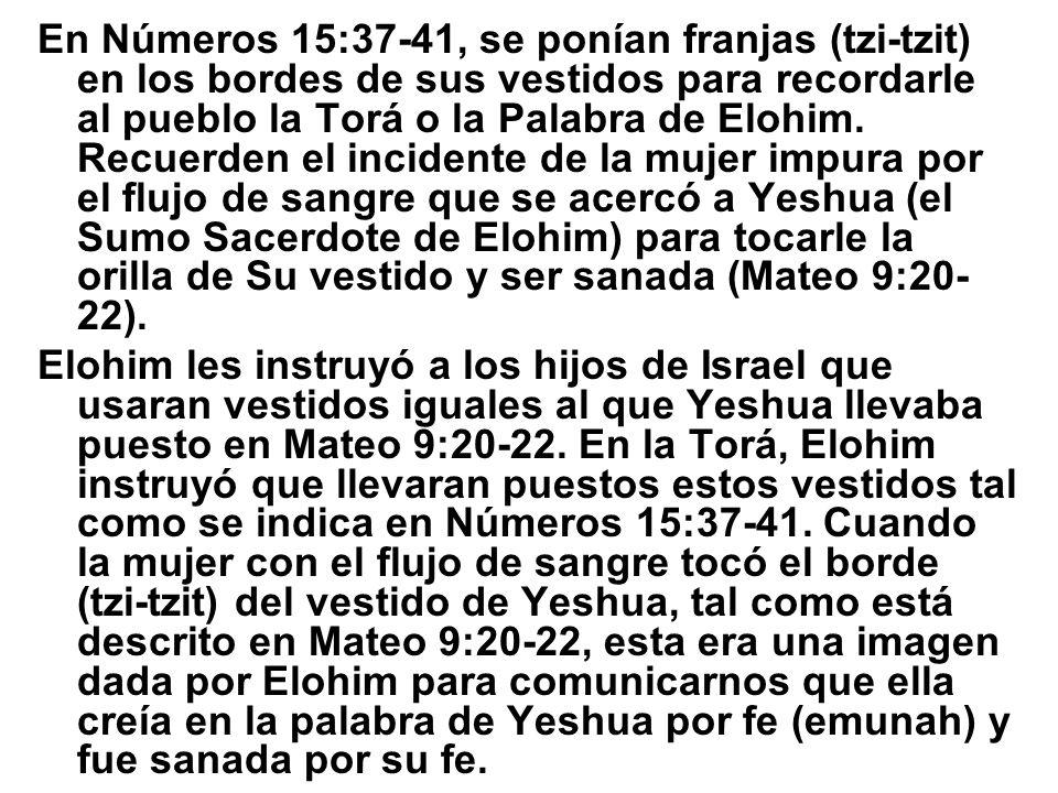 En Números 15:37-41, se ponían franjas (tzi-tzit) en los bordes de sus vestidos para recordarle al pueblo la Torá o la Palabra de Elohim. Recuerden el