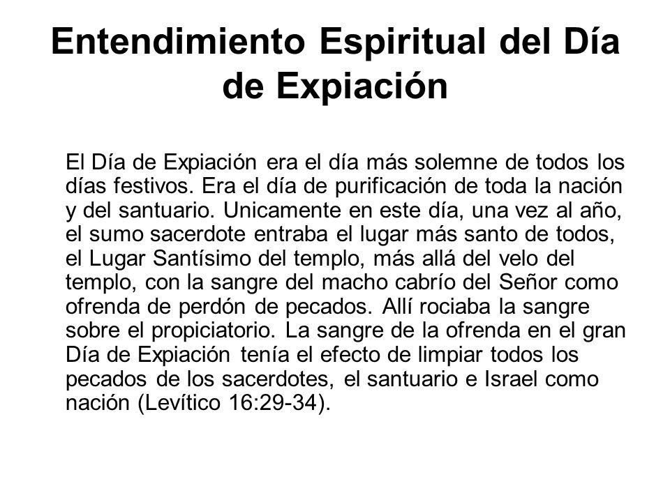 Entendimiento Espiritual del Día de Expiación El Día de Expiación era el día más solemne de todos los días festivos. Era el día de purificación de tod