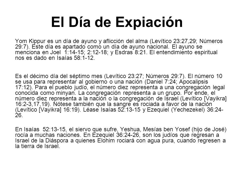 El Día de Expiación Yom Kippur es un día de ayuno y aflicción del alma (Levítico 23:27,29; Números 29:7). Este día es apartado como un día de ayuno na