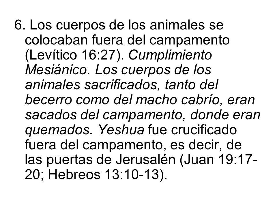 6. Los cuerpos de los animales se colocaban fuera del campamento (Levítico 16:27). Cumplimiento Mesiánico. Los cuerpos de los animales sacrificados, t