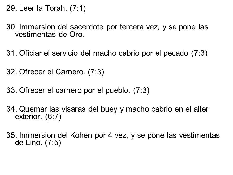29. Leer la Torah. (7:1) 30 Immersion del sacerdote por tercera vez, y se pone las vestimentas de Oro. 31. Oficiar el servicio del macho cabrio por el