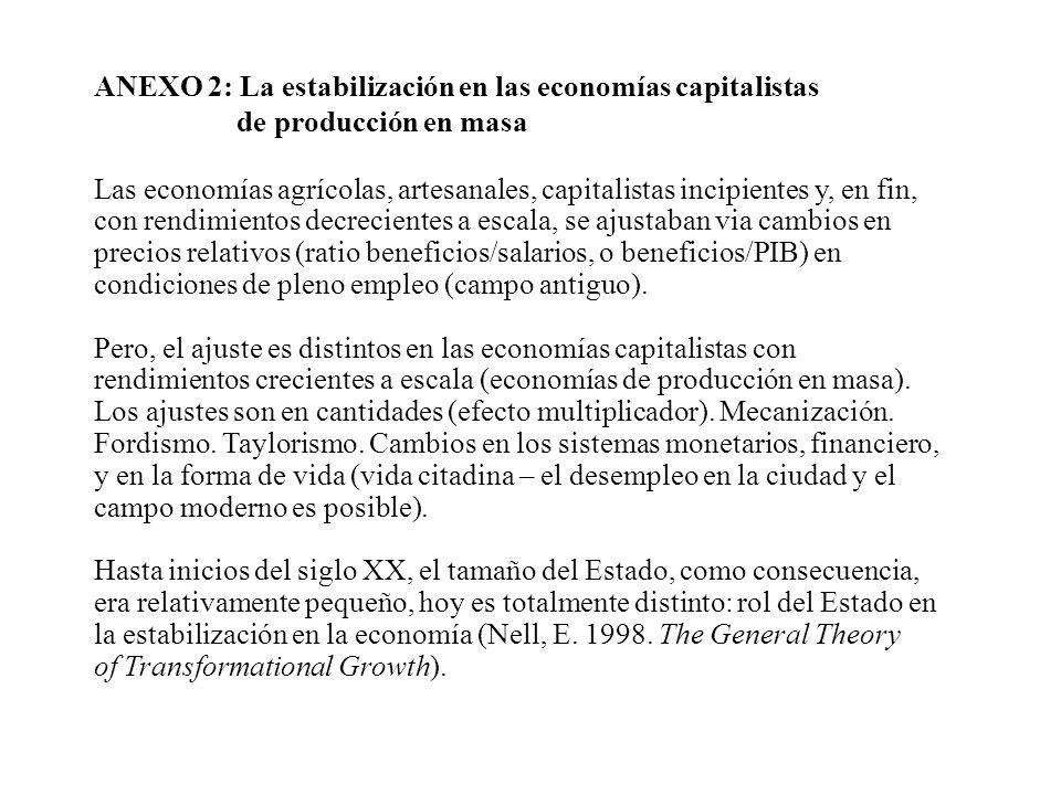 ANEXO 2: La estabilización en las economías capitalistas de producción en masa Las economías agrícolas, artesanales, capitalistas incipientes y, en fi