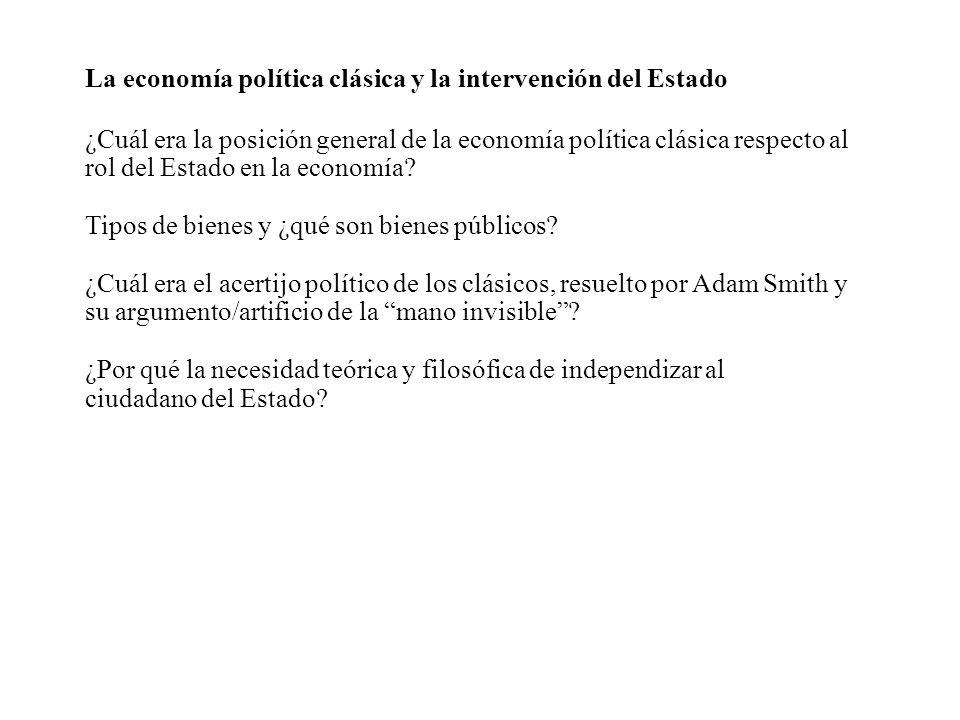 La economía política clásica y la intervención del Estado ¿Cuál era la posición general de la economía política clásica respecto al rol del Estado en