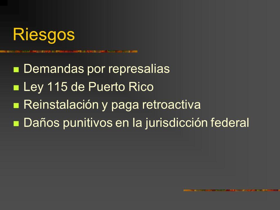 Riesgos Demandas por represalias Ley 115 de Puerto Rico Reinstalación y paga retroactiva Daños punitivos en la jurisdicción federal
