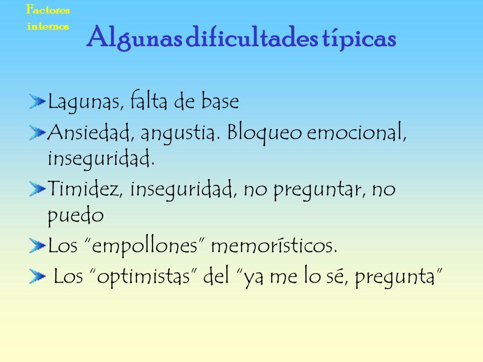 Factores internos Lagunas, falta de base Ansiedad, angustia. Bloqueo emocional, inseguridad. Timidez, inseguridad, no preguntar, no puedo Los empollon