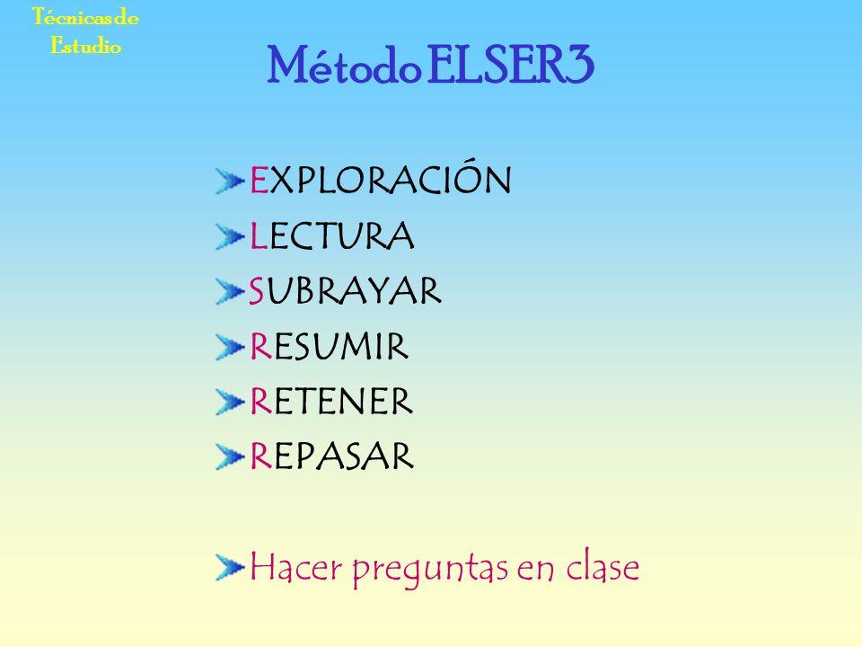 Técnicas de Estudio EXPLORACIÓN LECTURA SUBRAYAR RESUMIR RETENER REPASAR Hacer preguntas en clase Método ELSER3