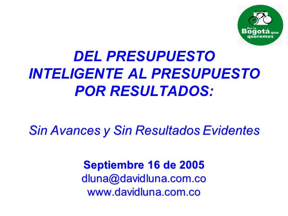 Sin Avances y Sin Resultados Evidentes Septiembre 16 de 2005 dluna@davidluna.com.co www.davidluna.com.co DEL PRESUPUESTO INTELIGENTE AL PRESUPUESTO POR RESULTADOS: Sin Avances y Sin Resultados Evidentes Septiembre 16 de 2005 dluna@davidluna.com.co www.davidluna.com.co