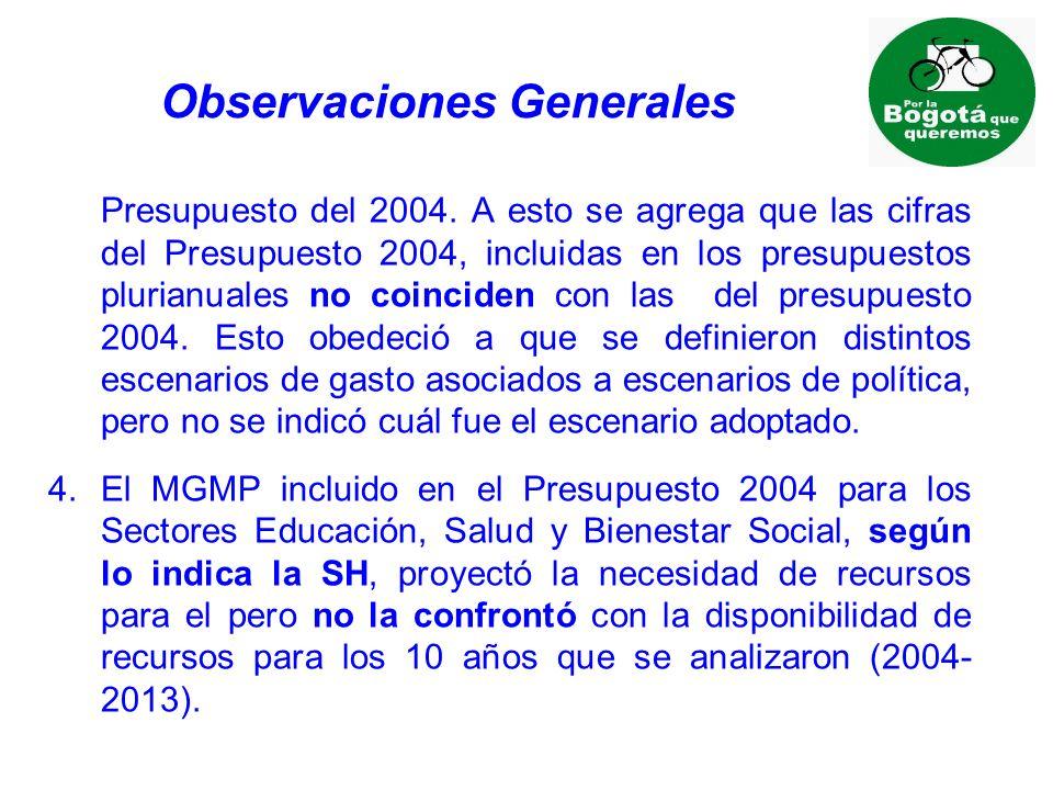 Observaciones Generales Presupuesto del 2004.