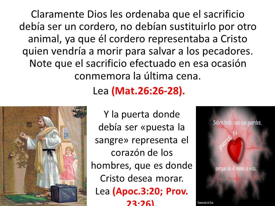 Claramente Dios les ordenaba que el sacrificio debía ser un cordero, no debían sustituirlo por otro animal, ya que él cordero representaba a Cristo qu