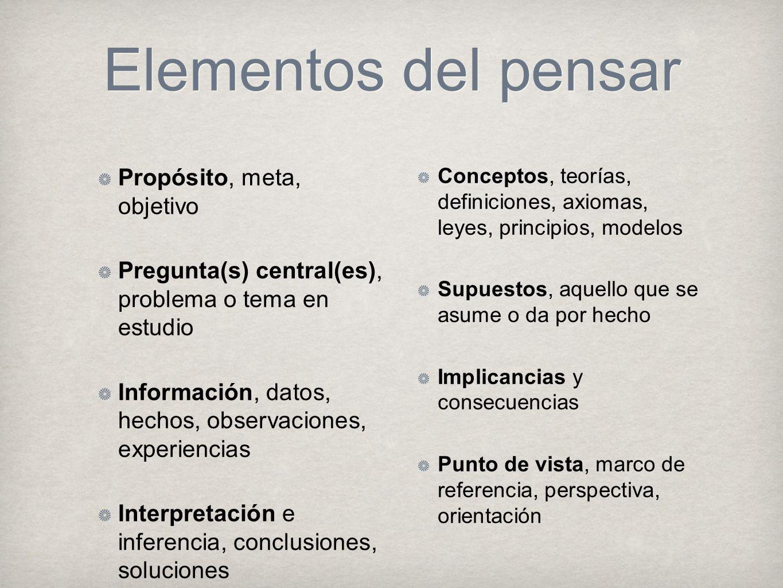 Elementos del pensar Propósito, meta, objetivo Pregunta(s) central(es), problema o tema en estudio Información, datos, hechos, observaciones, experien