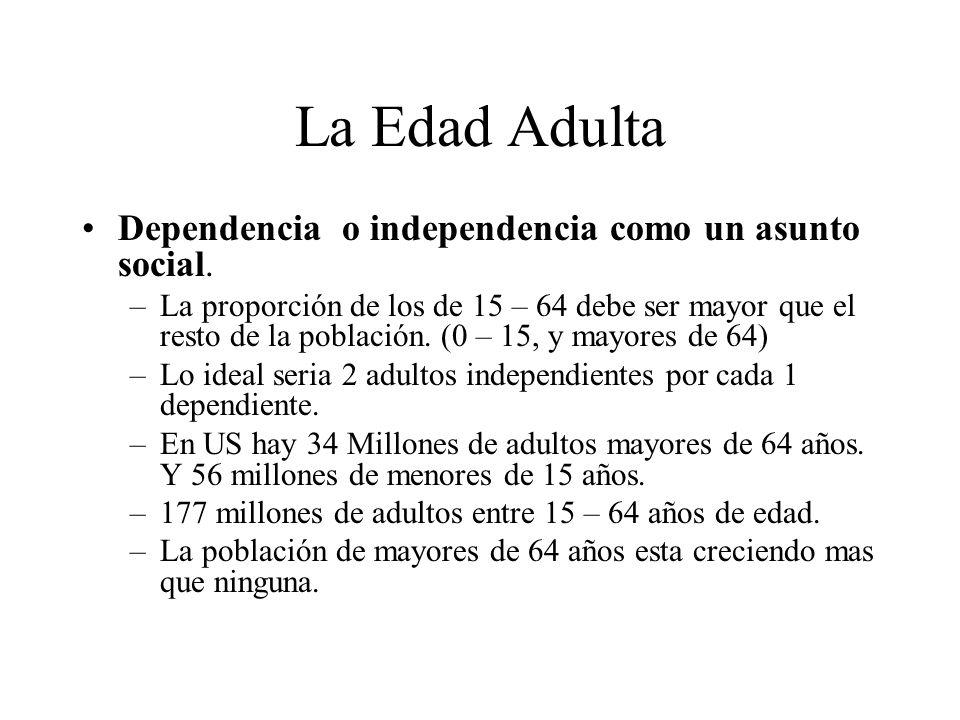 La Edad Adulta Dependencia o independencia como un asunto social. –La proporción de los de 15 – 64 debe ser mayor que el resto de la población. (0 – 1