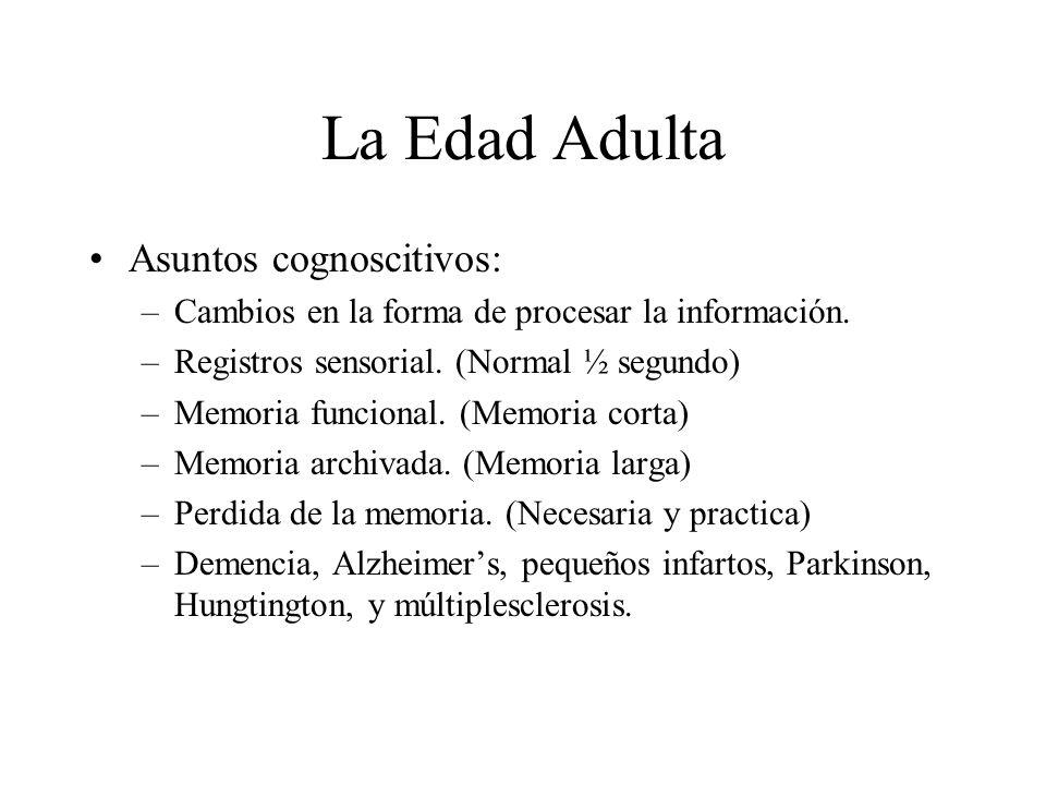 La Edad Adulta Asuntos cognoscitivos: –Cambios en la forma de procesar la información. –Registros sensorial. (Normal ½ segundo) –Memoria funcional. (M