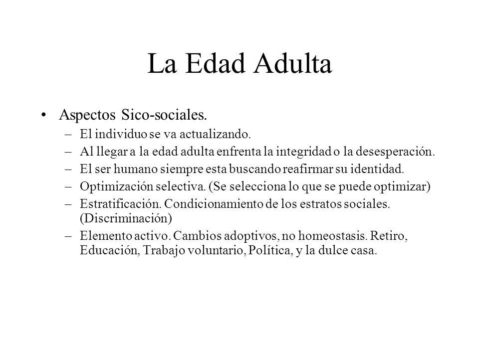 La Edad Adulta Aspectos Sico-sociales. –El individuo se va actualizando. –Al llegar a la edad adulta enfrenta la integridad o la desesperación. –El se