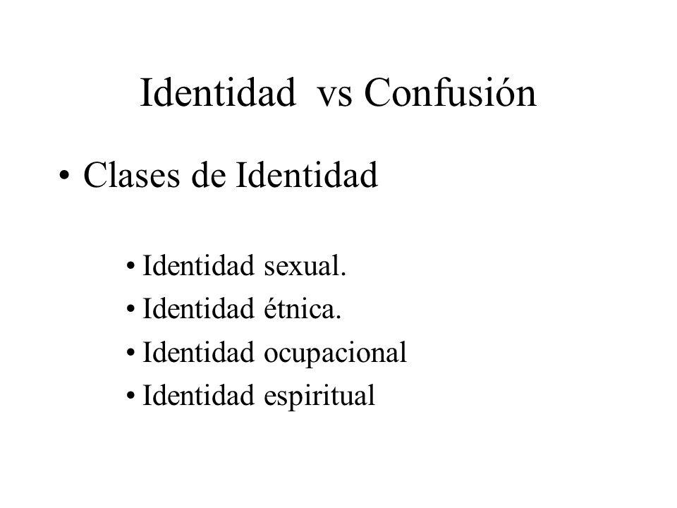 Identidad vs Confusión Clases de Identidad Identidad sexual. Identidad étnica. Identidad ocupacional Identidad espiritual