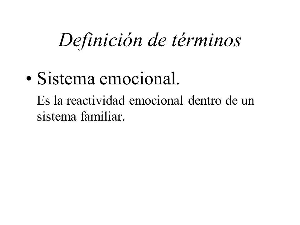 Definición de términos Sistema emocional. Es la reactividad emocional dentro de un sistema familiar.