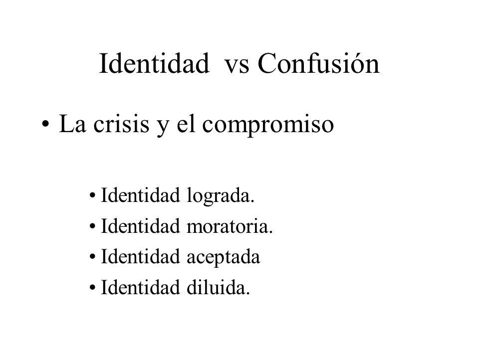 Identidad vs Confusión La crisis y el compromiso Identidad lograda. Identidad moratoria. Identidad aceptada Identidad diluida.