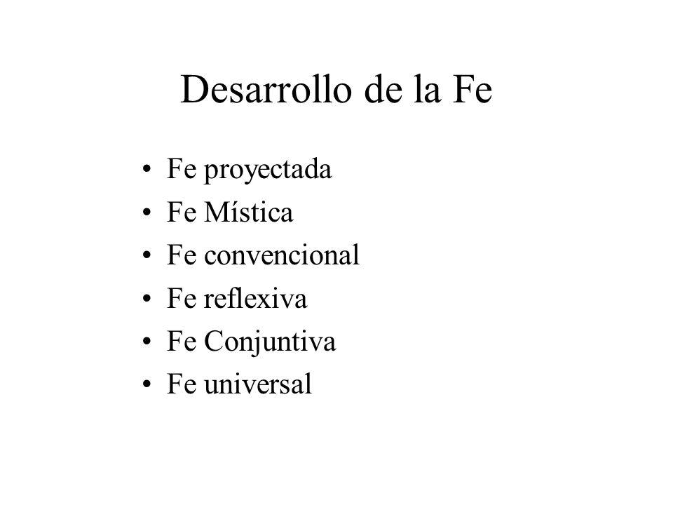 Desarrollo de la Fe Fe proyectada Fe Mística Fe convencional Fe reflexiva Fe Conjuntiva Fe universal