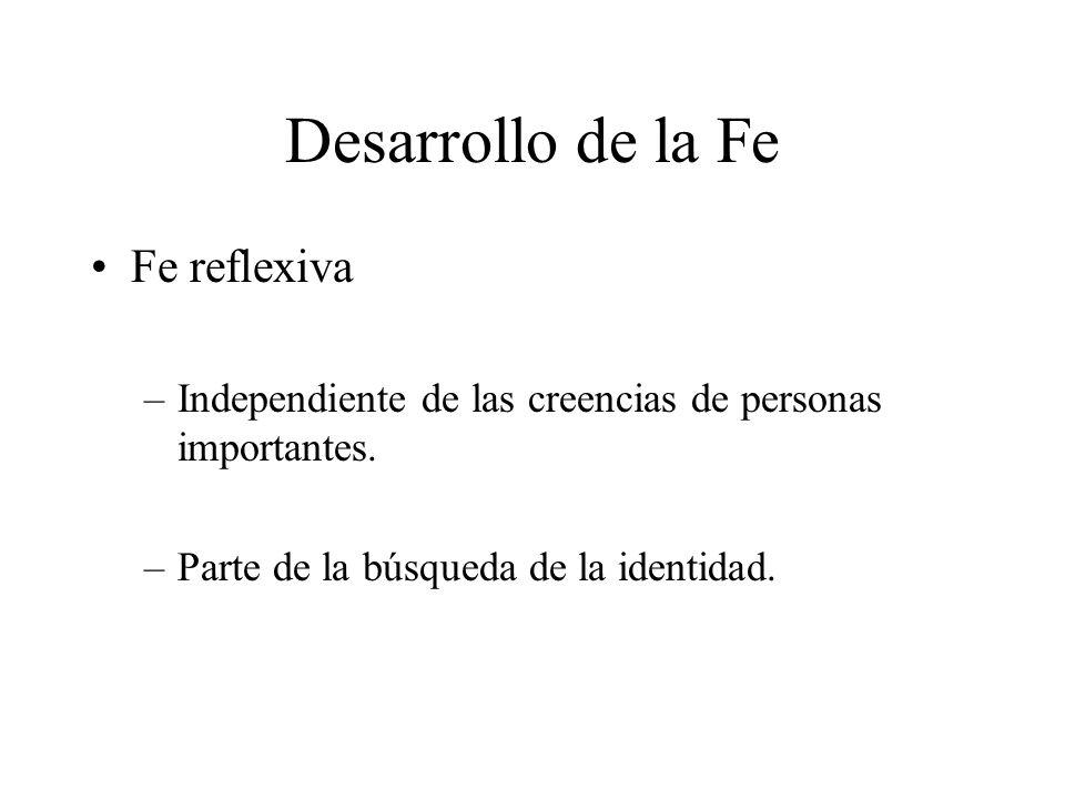 Desarrollo de la Fe Fe reflexiva –Independiente de las creencias de personas importantes. –Parte de la búsqueda de la identidad.