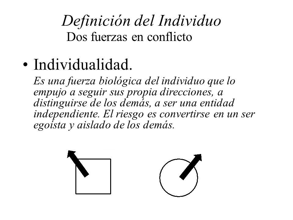 Definición del Individuo Dos fuerzas en conflicto Individualidad. Es una fuerza biológica del individuo que lo empujo a seguir sus propia direcciones,