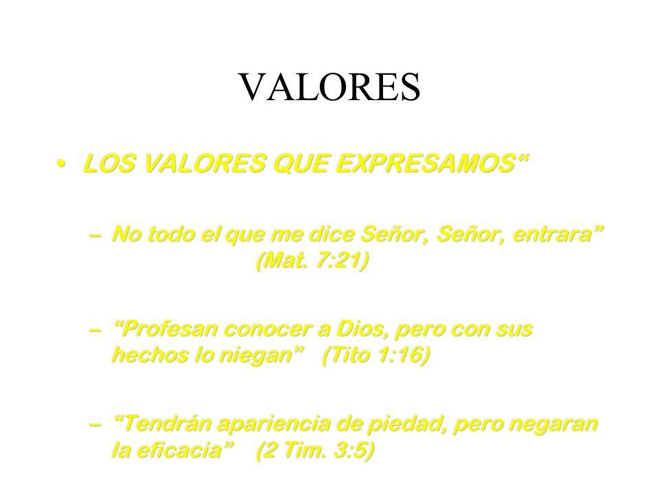 VALORES LOS VALORES QUE EXPRESAMOSLOS VALORES QUE EXPRESAMOS –No todo el que me dice Señor, Señor, entrara (Mat. 7:21) –Profesan conocer a Dios, pero