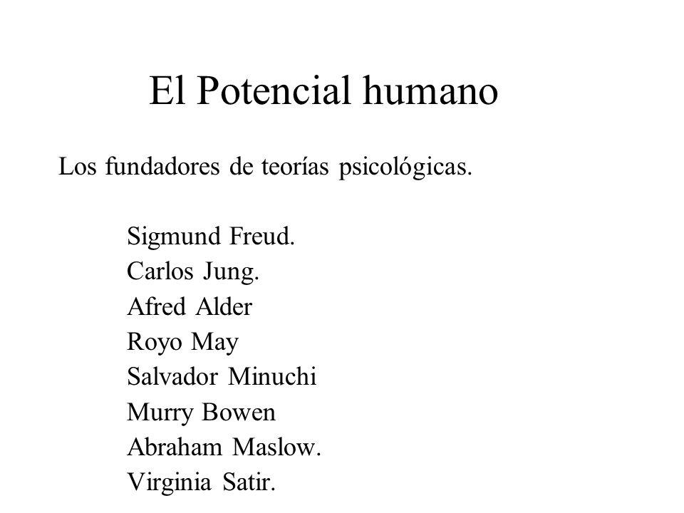 El Potencial humano Los fundadores de teorías psicológicas. Sigmund Freud. Carlos Jung. Afred Alder Royo May Salvador Minuchi Murry Bowen Abraham Masl