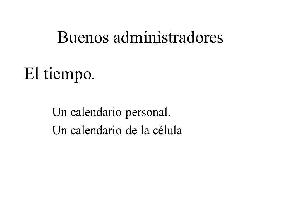 Buenos administradores El tiempo. Un calendario personal. Un calendario de la célula