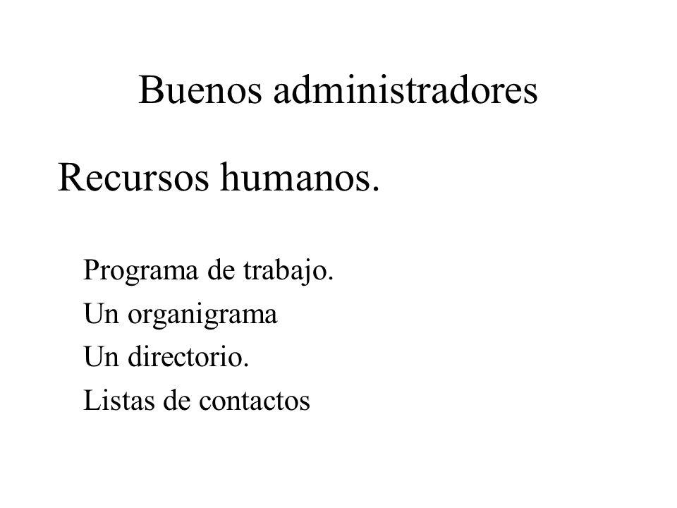 Buenos administradores Recursos humanos. Programa de trabajo. Un organigrama Un directorio. Listas de contactos