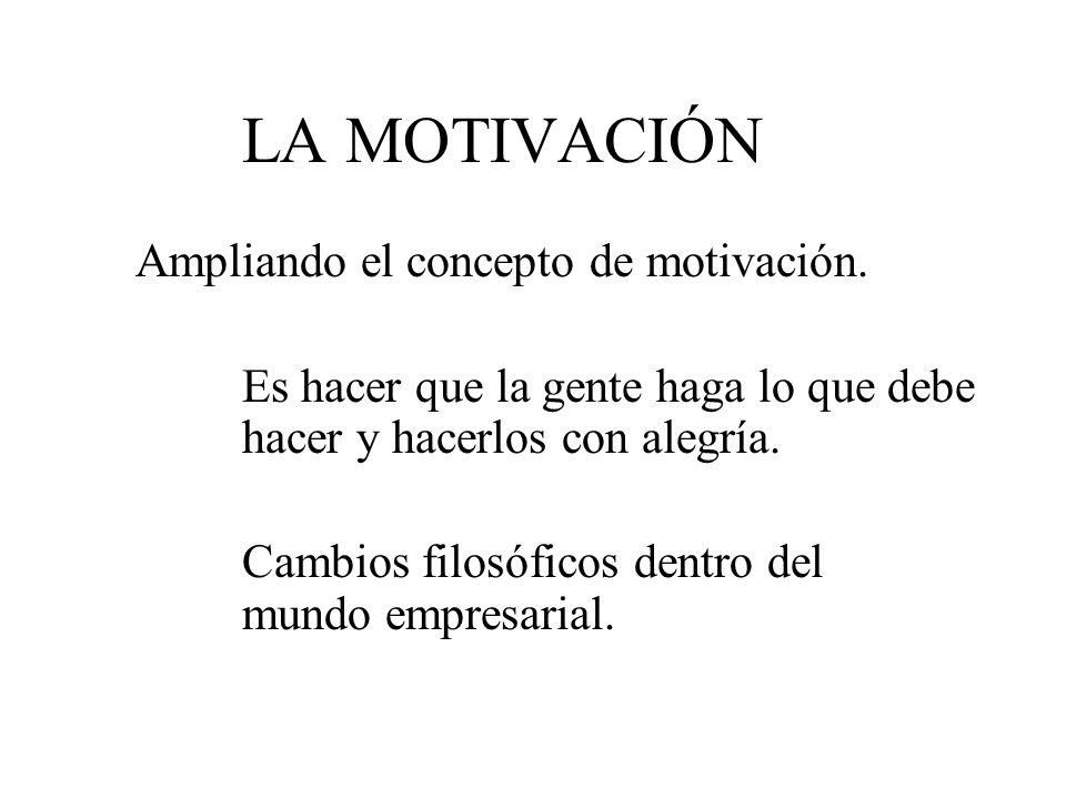 LA MOTIVACIÓN Ampliando el concepto de motivación. Es hacer que la gente haga lo que debe hacer y hacerlos con alegría. Cambios filosóficos dentro del