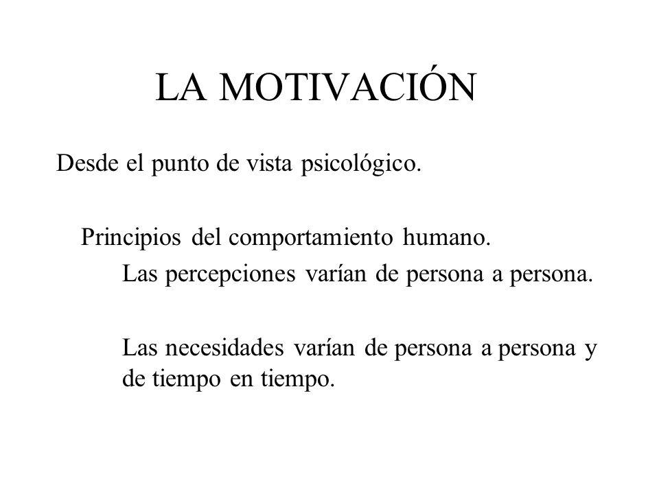 LA MOTIVACIÓN Desde el punto de vista psicológico. Principios del comportamiento humano. Las percepciones varían de persona a persona. Las necesidades