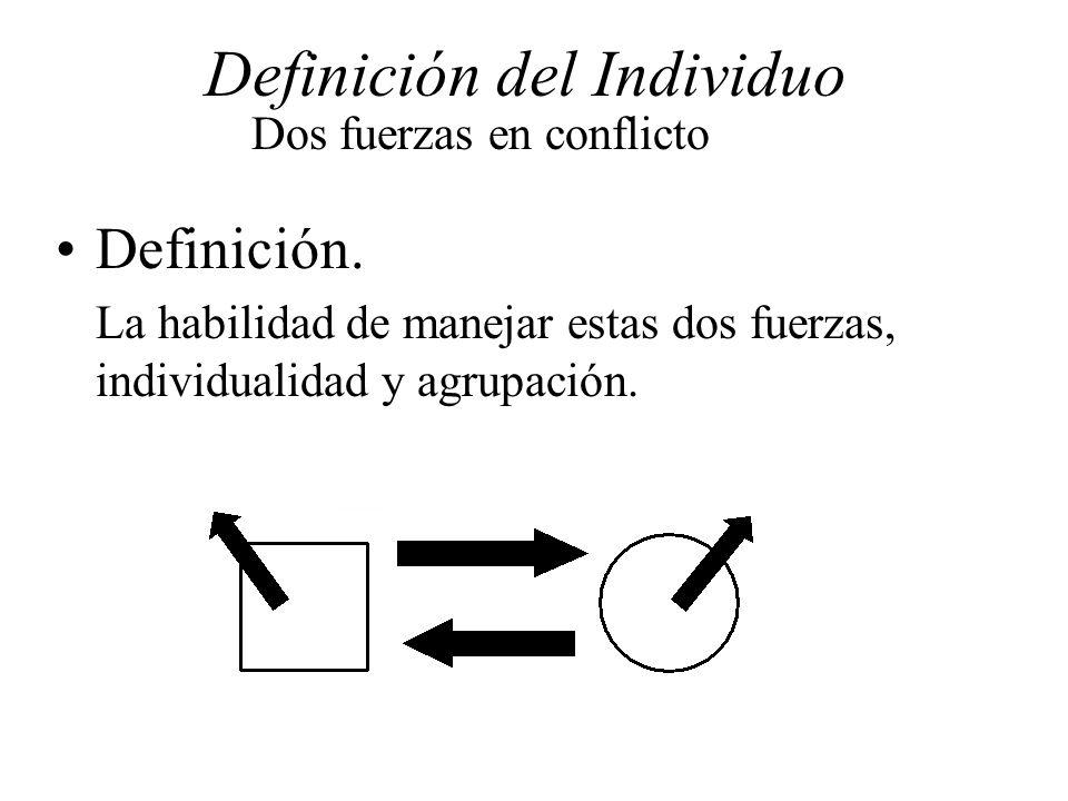Definición del Individuo Dos fuerzas en conflicto Definición. La habilidad de manejar estas dos fuerzas, individualidad y agrupación.