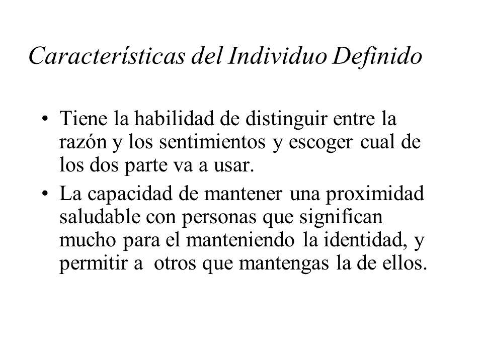 Características del Individuo Definido Tiene la habilidad de distinguir entre la razón y los sentimientos y escoger cual de los dos parte va a usar. L