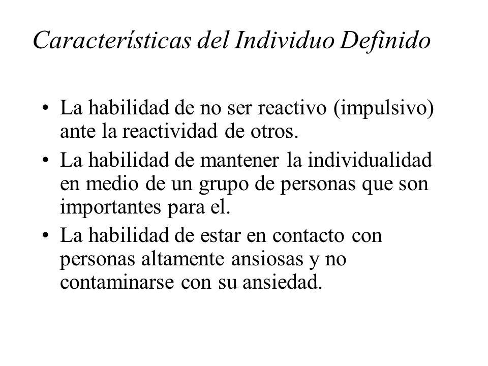 Características del Individuo Definido La habilidad de no ser reactivo (impulsivo) ante la reactividad de otros. La habilidad de mantener la individua