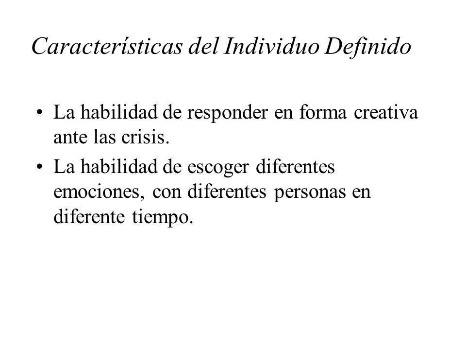 Características del Individuo Definido La habilidad de responder en forma creativa ante las crisis. La habilidad de escoger diferentes emociones, con