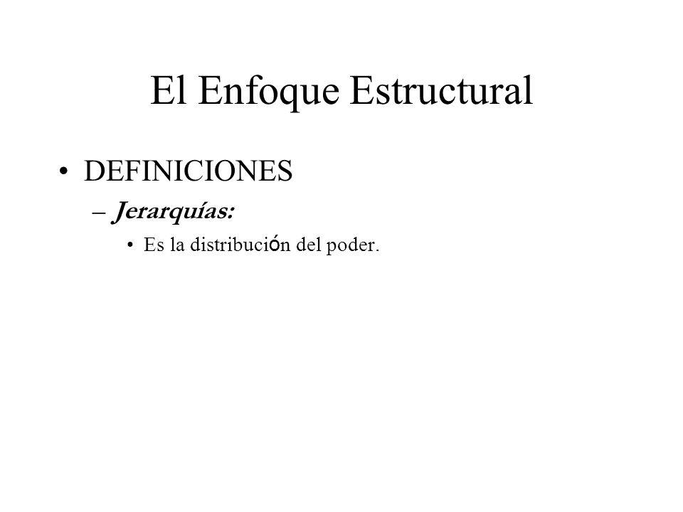 El Enfoque Estructural DEFINICIONES –Jerarquías: Es la distribuci ó n del poder.