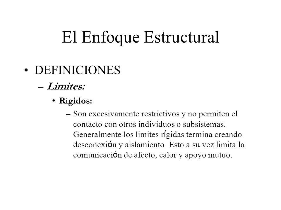 El Enfoque Estructural DEFINICIONES –Limites: Rígidos: –Son excesivamente restrictivos y no permiten el contacto con otros individuos o subsistemas. G