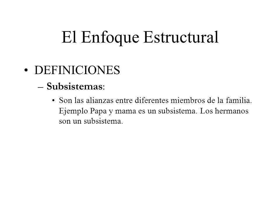 El Enfoque Estructural DEFINICIONES –Subsistemas: Son las alianzas entre diferentes miembros de la familia. Ejemplo Papa y mama es un subsistema. Los