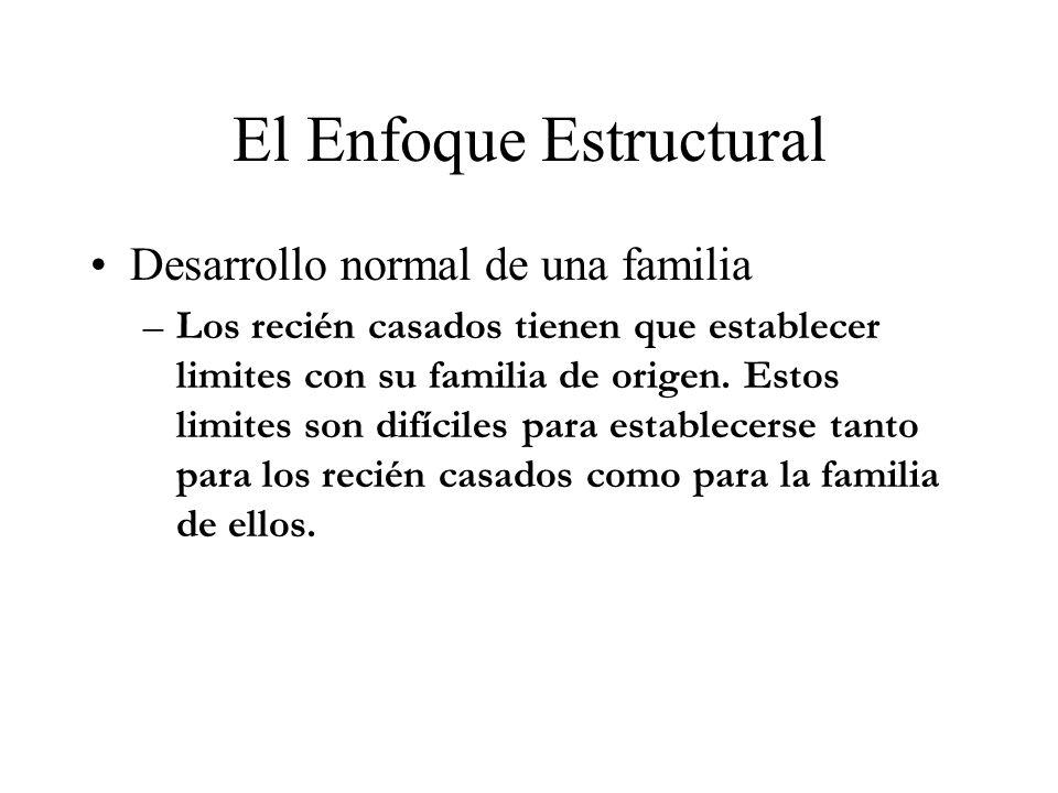 El Enfoque Estructural Desarrollo normal de una familia –Los recién casados tienen que establecer limites con su familia de origen. Estos limites son