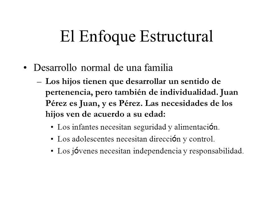 El Enfoque Estructural Desarrollo normal de una familia –Los hijos tienen que desarrollar un sentido de pertenencia, pero también de individualidad. J