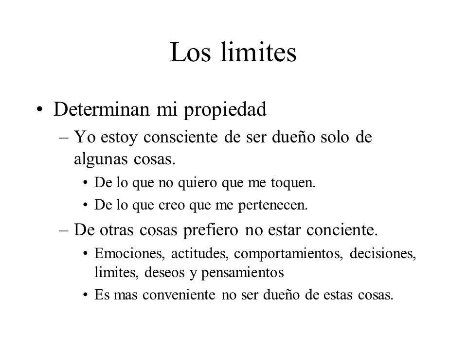 Los limites Determinan mi propiedad –Yo estoy consciente de ser dueño solo de algunas cosas. De lo que no quiero que me toquen. De lo que creo que me