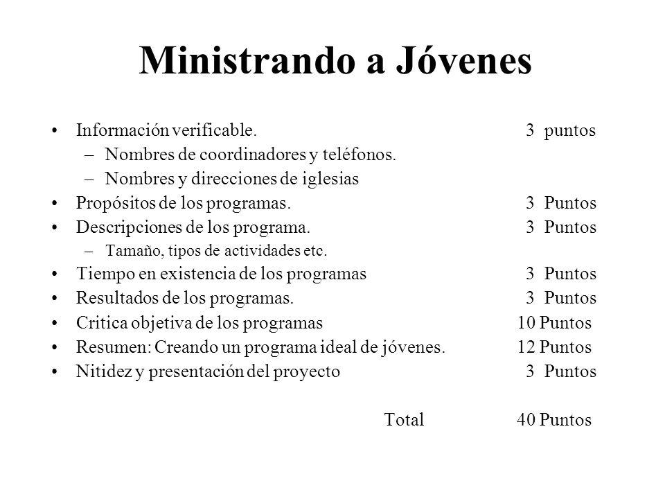 Ministrando a Jóvenes Información verificable. 3 puntos –Nombres de coordinadores y teléfonos. –Nombres y direcciones de iglesias Propósitos de los pr