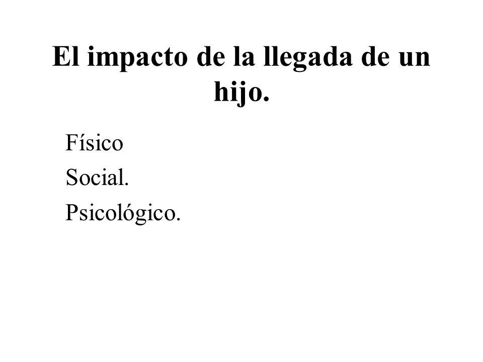 El impacto de la llegada de un hijo. Físico Social. Psicológico.