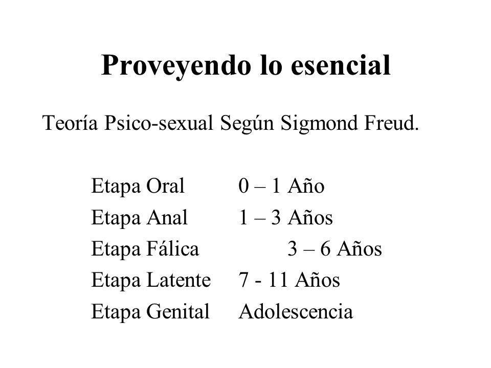 Proveyendo lo esencial Teoría Psico-sexual Según Sigmond Freud. Etapa Oral0 – 1 Año Etapa Anal1 – 3 Años Etapa Fálica3 – 6 Años Etapa Latente7 - 11 Añ