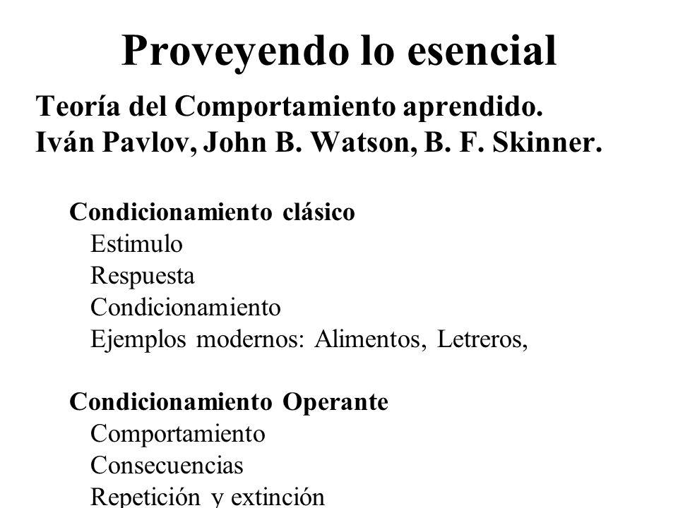 Proveyendo lo esencial Teoría del Comportamiento aprendido. Iván Pavlov, John B. Watson, B. F. Skinner. Condicionamiento clásico Estimulo Respuesta Co