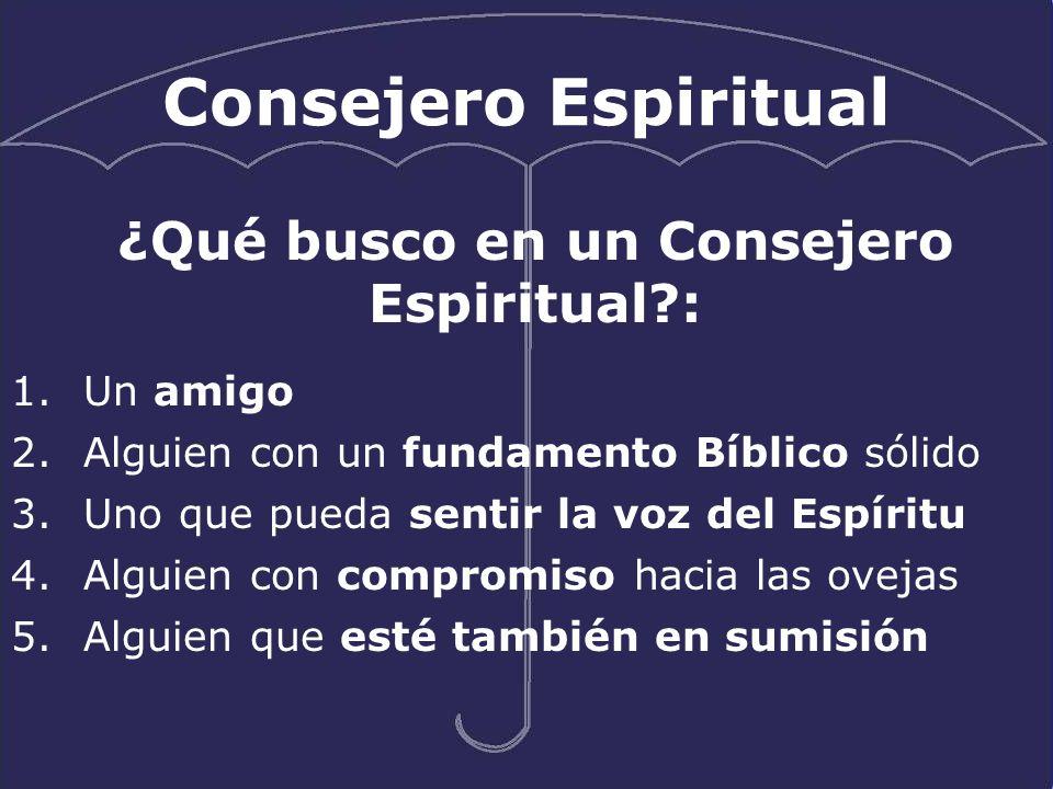 Consejero Espiritual 1.Un amigo 2.Alguien con un fundamento Bíblico sólido 3.Uno que pueda sentir la voz del Espíritu 4.Alguien con compromiso hacia l