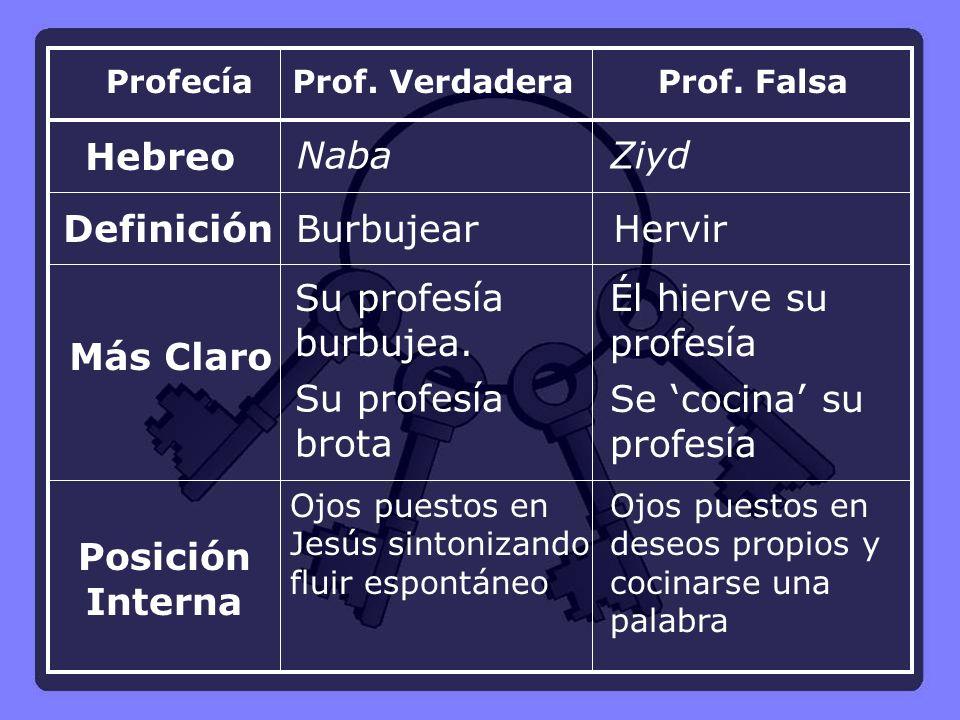 Prof.VerdaderaProf. Falsa Hebreo NabaZiyd DefiniciónBurbujearHervir Su profesía burbujea.